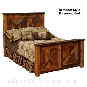 Barndoor Style Red Oak Barnwood Bed Bedroom Set