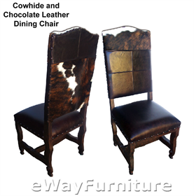 cowhide and chocolate leather dining chair