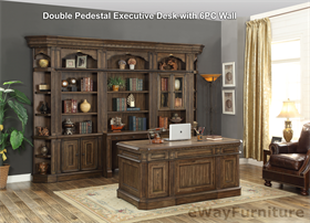 Parker House Aria Double Pedestal Executive Desk With 6PC Wall