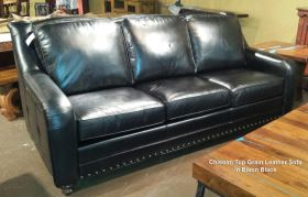 Exceptionnel Chisolm Top Grain Leather Sofa In Bison Black Made In USA